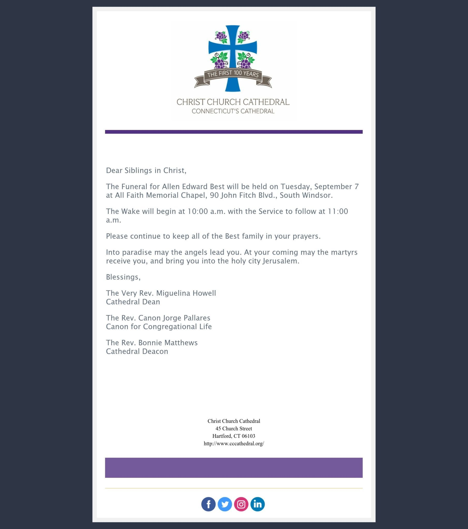 A Message From Our Clergy Team Allen Edward Best Service