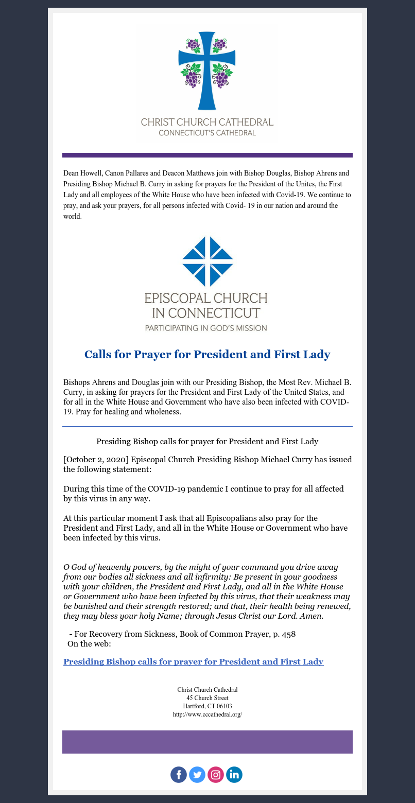 A Message From The Cathedral Office Call For Prayer For President And First Lady