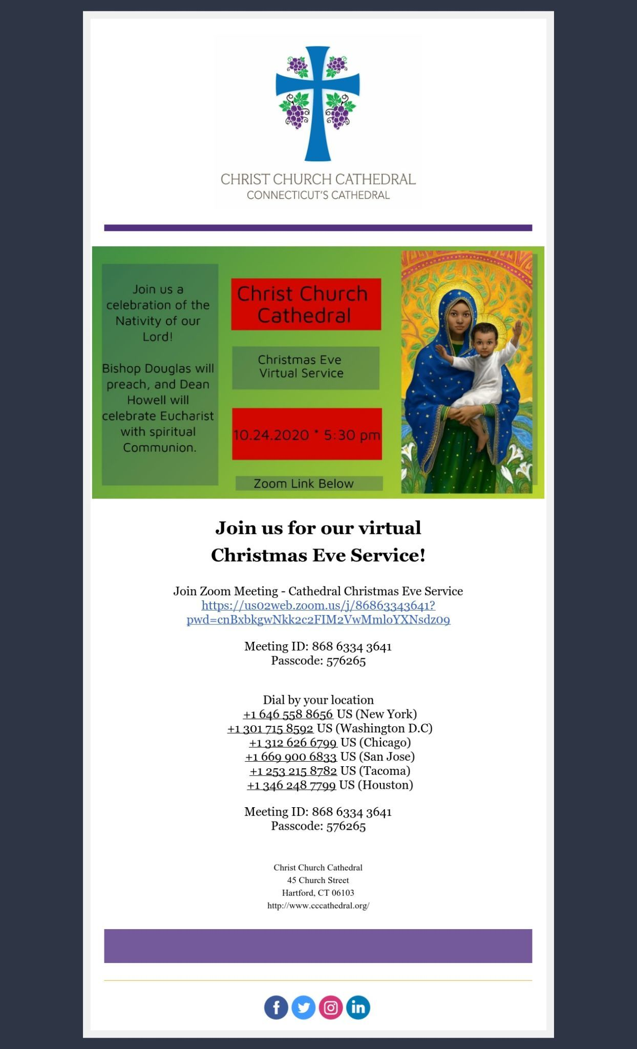 A Message From The Cathedral Office Reminder Christmas Eve Virtual Service