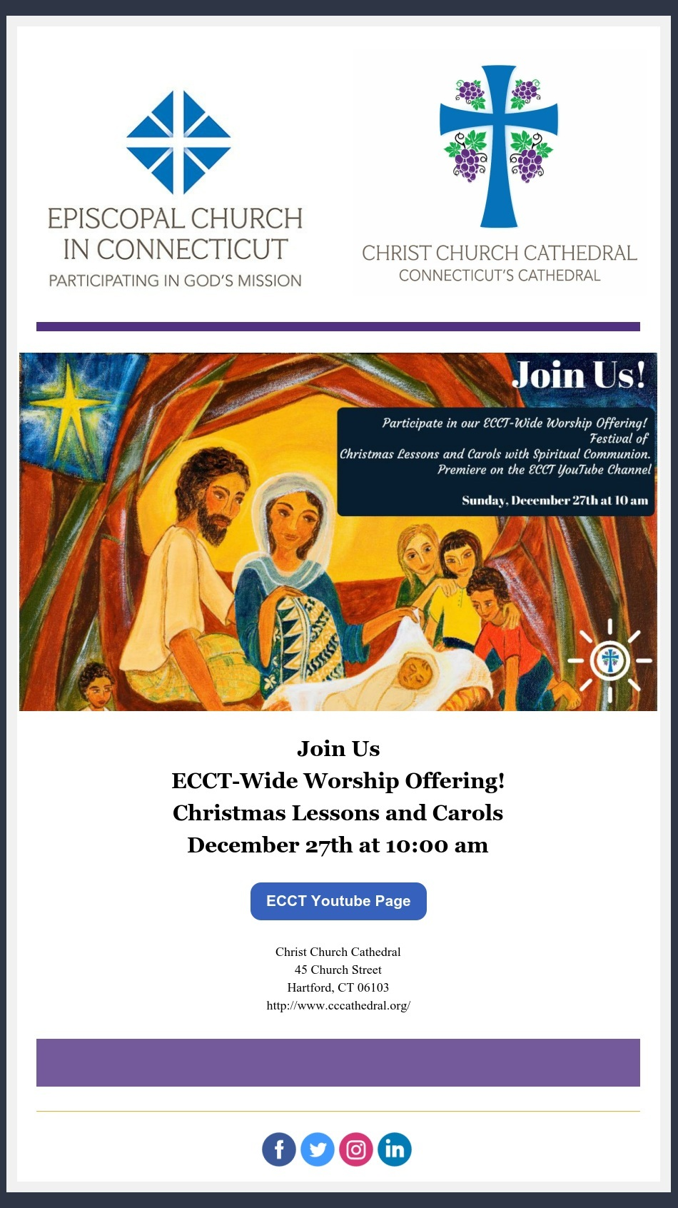 From The Cathedral Office Reminder Ecct Offering Christmas Lessons And Carols