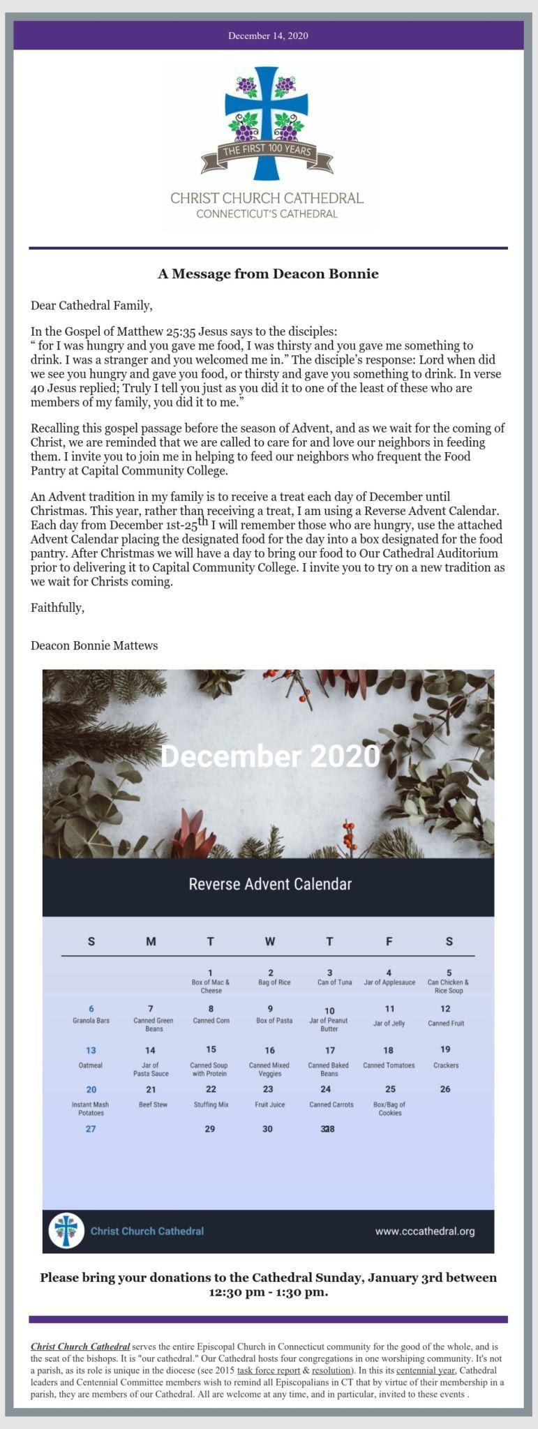 Message From Deacon Matthews Reminder Reverse Advent Calendar December 14 2020