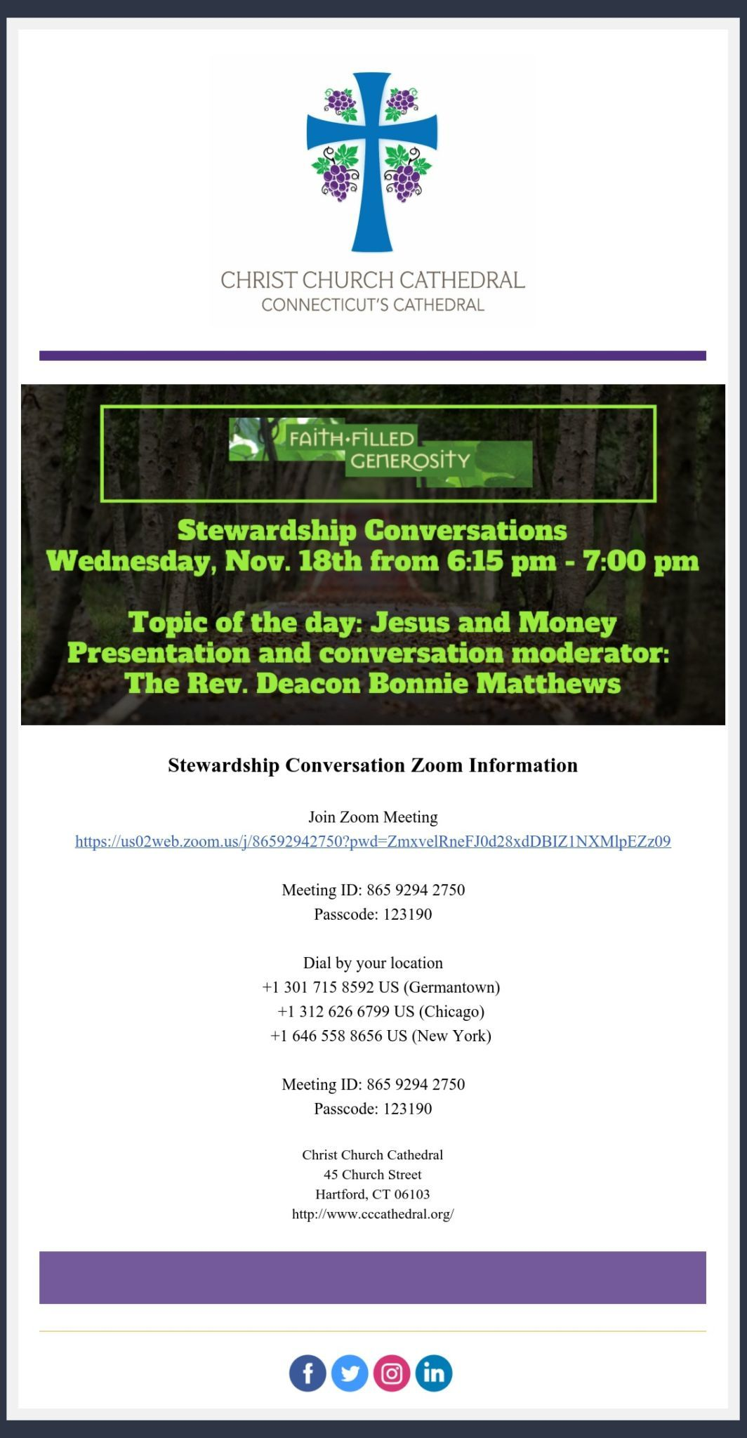 Message From The Cathedral Office Reminder 2Nd Stewardship Conversation Tonight