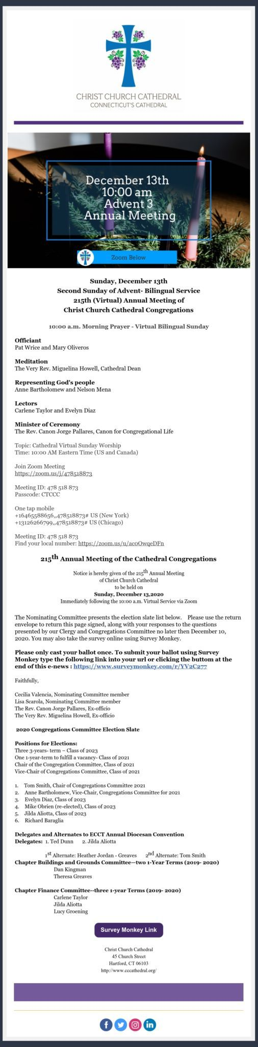 Message From The Cathedral Office Reminder Ccc Annual Meeting This Sunday